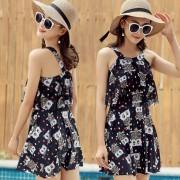 新款韓國小清新連體裙式泳衣女性感顯瘦遮肚平角保守沙灘溫泉泳裝
