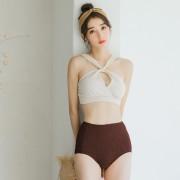 韓國新款泳裝時尚顯瘦少女溫泉泳衣女高腰平角分體比基尼兩件套