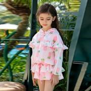 韓版公主裙式泳裝女童泳衣分體可愛兒童防曬平角游泳衣中大童