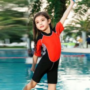 男女孩運動款兒童泳衣連體寶寶小中大童泳裝學生男女童溫泉游