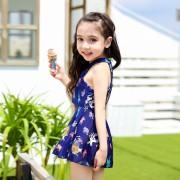 新款 韓國小香風兒童泳衣大中小女童學生連體裙式平角溫泉游泳衣