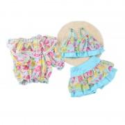 韓版公主裙式平角游泳衣女童泳衣分體可愛寶寶防曬兒童泳裝女