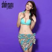 夏艷純色歐美比基尼 三件套溫泉性感泳衣 女士鋼托聚攏蝴蝶結泳裝