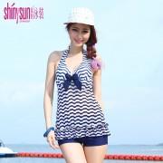 夏艷條紋性感游泳衣 女士保守平角分體泳衣 三件套清新韓國泳裝女