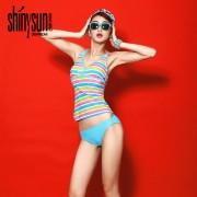 夏艷裙式性感比基尼保守條紋分體泳衣女士三件套小胸聚攏泳裝批發