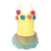 新款兒童連體泳衣女韓版可愛純色三角公主網紗裙式泳衣批發