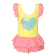 廠家批發新款連體泳衣女小清新可愛兒童三角荷葉邊裙擺游泳衣