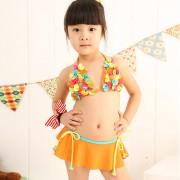 批發新款兒童比基尼泳衣女可愛蝴蝶花三角公主裙式分體游泳衣