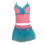 爆款兒童分體泳衣女露肚可愛純色三角拉丁細紗裙式沙灘游泳衣批發