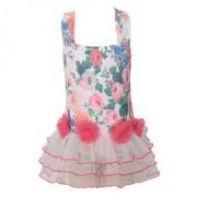 新款兒童細紗裙式連體游泳衣女韓版可愛印花三角溫泉泳衣批發