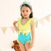 新款女式連體泳衣韓版可愛粉色兒童三角公主領游泳衣廠家直銷