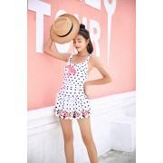 學生連體泳衣 女新款小胸保守遮肚顯瘦可愛少女海邊溫泉泳衣