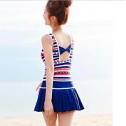 夏艷新款連體泳衣韓版海灘大胸防漏平角褲背心裙式保守游泳衣