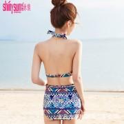 夏艷 泳衣女三件套高腰比基尼分體裙式小香風保守露背游泳衣