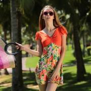 夏艷 歐美新款連體泳衣女士保守泳裝夏款 時尚碎花游泳用品