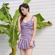 夏艷 泳衣新款女士保守遮肚連體溫泉泳裝 條紋吊帶游泳衣批發