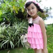新款中小童連衣裙泳衣 小蘿莉紗拼接兒童泳衣
