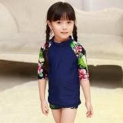 韓版新款兒童泳衣中小女童可愛女孩寶寶公主分體平角長袖防曬套裝