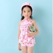汐琪新款兒童泳衣 可愛印花兒童分體泳衣 火烈鳥女童泳衣