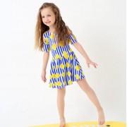 汐琪新款兒童泳衣 女童連體裙泳衣 條紋女大童泳衣 檸檬
