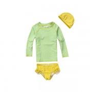 兒童泳衣韓國新款可愛中小女童女孩長袖防曬分體平角褲游泳衣