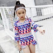 兒童泳衣 防曬女童連體泳衣 幾何圖案兒童泳衣