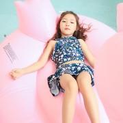 海依珊新款兒童泳衣碎花分體裙式中大女童女孩學生溫泉游泳衣