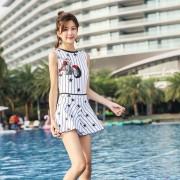 夏艷泳裝時尚條紋保守溫泉泳衣修身顯瘦連體泳衣二件套