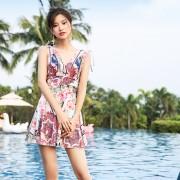 新款連體泳衣平角裙式保守泳衣遮肉修身性感露背溫泉泳衣