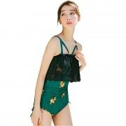 新款韓版印花保守性感女士連體泳衣露背高腰緊身比基尼泳裝