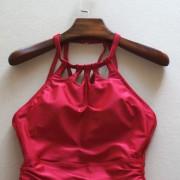 夏艷純色性感裙式連體泳衣 秋冬新款泳衣女露背保守溫泉泳裝