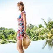 夏艷碎花時尚裙式連體泳衣新款泳裝速干保守溫泉泳衣