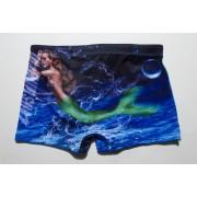 austinbem男士泳褲平角泳褲時尚個性圖案海洋生物泳褲男式游泳褲