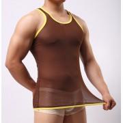男士內褲批發外貿出口 網紗透明男內衣家居家背心內穿內衣MXBX