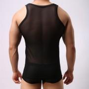 爆款男背心夏季網紗透明透氣網眼薄款運動背心性感打底衫