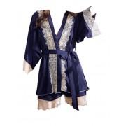 春秋新款絲綢性感吊帶睡衣女夏仿真絲三件套女士秋季長袖薄款套裝