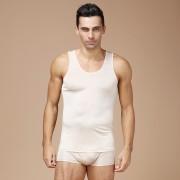 夏季男士真絲背心寬松透氣100%桑蠶絲針織打底衫寬肩無袖背心汗衫