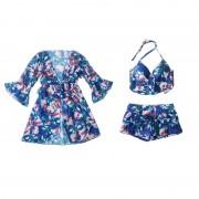泳衣女時尚比基尼三件套學生碎花外衫顯瘦遮肚小胸聚攏溫泉游泳衣