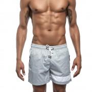 夏季男士輕薄柔軟網兜內襯沙灘短褲褲腳撞色時尚五分休閑運動短褲