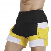 Superbody夏季時尚撞色休閑短褲青年潮流運動健身口袋沙灘褲外貿