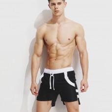 Superbody夏季新款男士個性休閑沙灘褲運動褲前短后長寬松短褲男