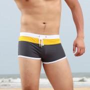 新款時尚性感拼接男士小平角泳褲低腰性感舒適爽滑拼接游泳短褲