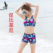 廠家直銷女士平角比基尼小胸聚攏鋼托泳裝套裝款